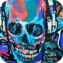 Rock Skull Graffiti theme 3D