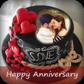 Name Photo On Anniversary Cake