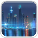 Dubai bei Nacht Hintergrund