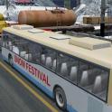 Schneefest Hügel Touristenbus