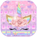 Pink Flower Unicorn Keyboard Theme