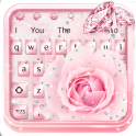 Pink Flower Diamond Keyboard Theme