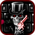 Red Rose Skull Gun Keyboard Theme