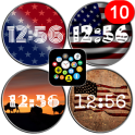 USA Flags watch face theme pack for Bubble Clouds