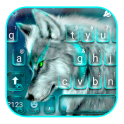 Cyan Neon Wolf Keyboard Theme