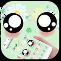 Green Cute Big Cartoon Eyes Theme