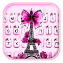 Eiffel Tower Pink Bow Keyboard
