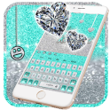 Silver And Blue Butterfly Glitter Keyboard Theme