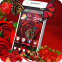 Red Rose Butterfly flowers themes and wallpaper