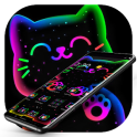 Colorful Neon Black Cat Theme