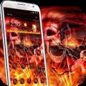 Roca cráneo del tema fuego 3d