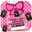 white dots pink bow keyboard