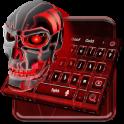 Red Neon Skull Keyboard Theme