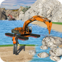 Water Surfer Excavator Crane 3D: Construction Site