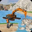 Water Surfer Excavator Crane 3D: Construction Site