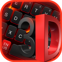 3D Black Red Keyboard