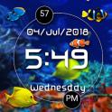 LED Digital Clock with Aquarium live wallpaper