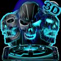 Neon Tech Evil Skull 3D Theme