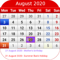 UK Calendar 2020