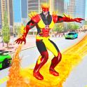 Robot policía volador héroe fuego ciudad crimen