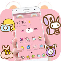 Pink Cute Cartoon Bear Theme