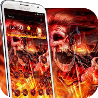3D Flame Rock Skull Theme