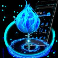 3D Blue Fire Ball Theme