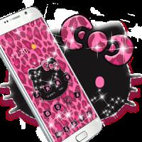 Pink Kitty Shine Leopard Cute Kitten Theme
