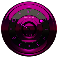Black Pink clock widget analog