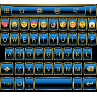 Frame Blue Gold Emoji Keyboard