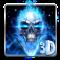 3D Blue Fire Skull Theme Launcher